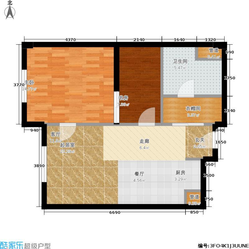 华润紫阳里66.00㎡公寓标准层C2户型2室2厅