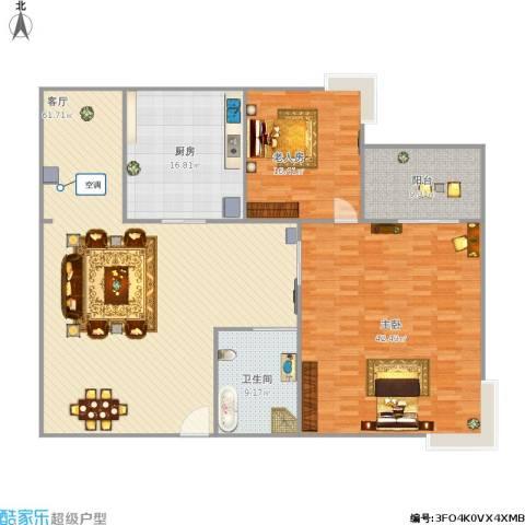 富力半岛花园2室1厅1卫1厨204.00㎡户型图