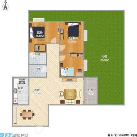 怡景花园3室1厅2卫1厨238.00㎡户型图