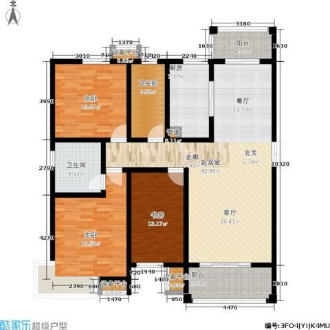 坤宇凯旋城3室0厅2卫1厨135.00㎡户型图