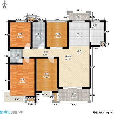 坤宇凯旋城3室0厅2卫1厨136.00㎡户型图