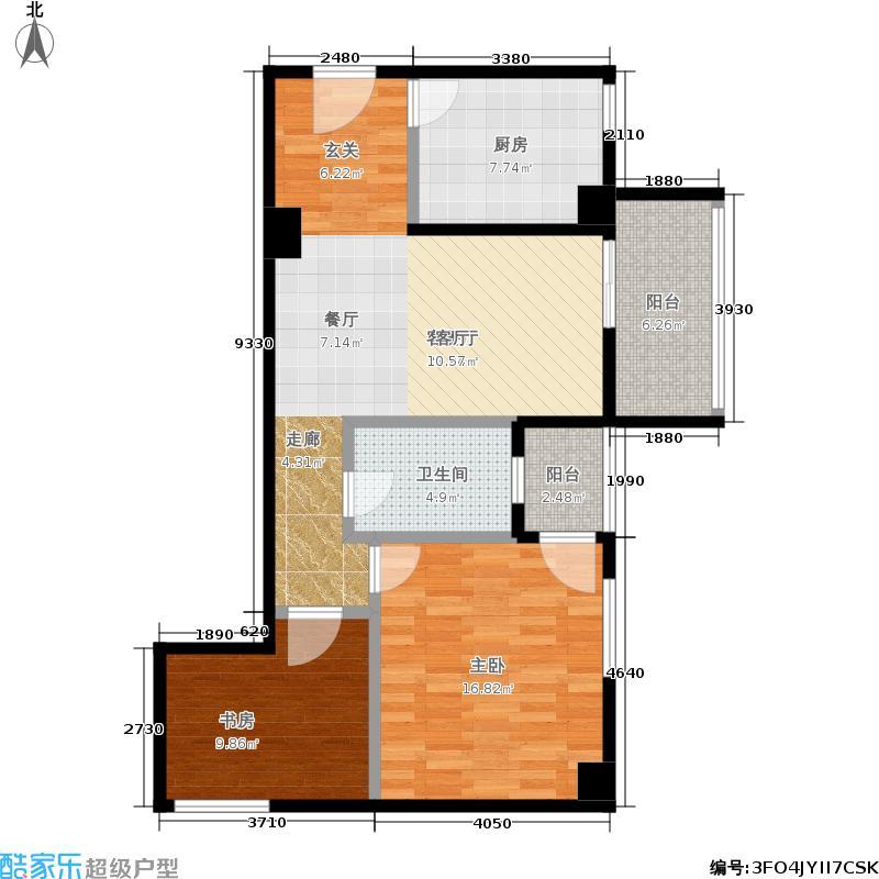 安源时代广场86.95㎡一号楼A2户型