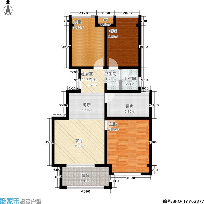 荣盛龙湖半岛94.41㎡一期2-3号楼标准层B3户型