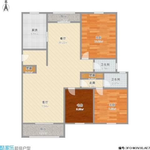 景博新园一期3室1厅2卫1厨98.00㎡户型图
