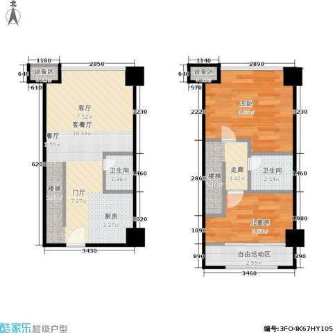 浙建枫华紫园2室1厅2卫0厨46.00㎡户型图