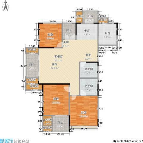 浙建枫华紫园3室1厅2卫1厨118.00㎡户型图