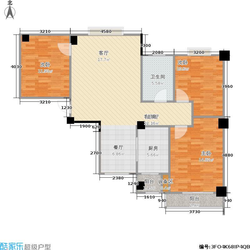 九坤五环华城98.00㎡九坤五环华城户型图C户型(4/7张)户型3室2厅1卫