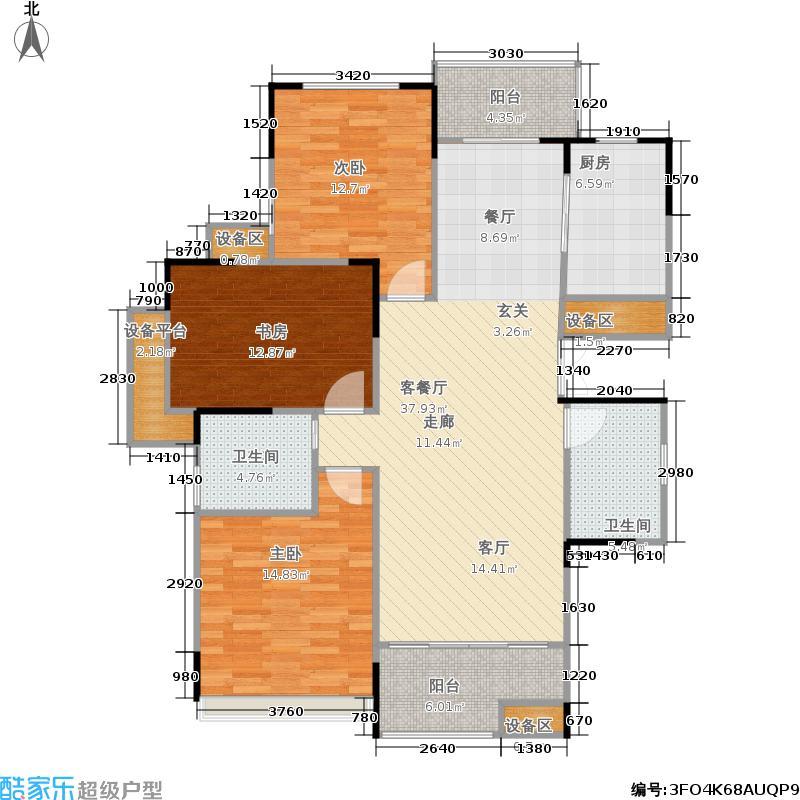 浙建枫华紫园J1a户型3室1厅2卫1厨