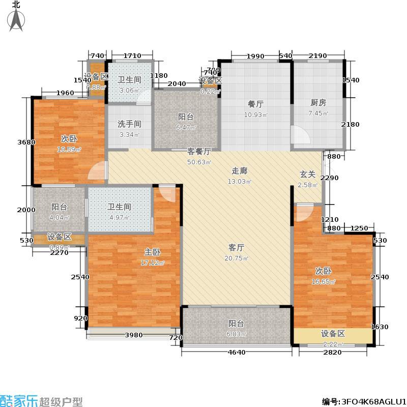 浙建枫华紫园L2户型3室1厅2卫1厨