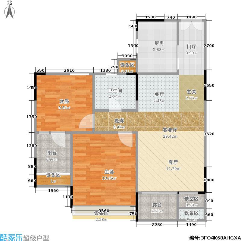 浙建枫华紫园G1户型2室1厅1卫1厨