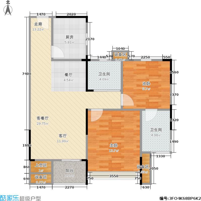 浙建枫华紫园B2b户型2室1厅2卫1厨