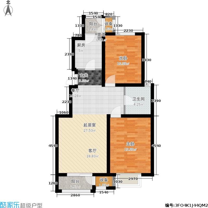 澜湾半岛91.81㎡一期1-2-3-4-5-6-7号楼标准层E户型2室2厅