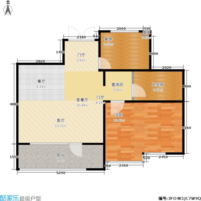 霞飞路63里弄70.00㎡一期1、2号楼标准层A户型2室1厅