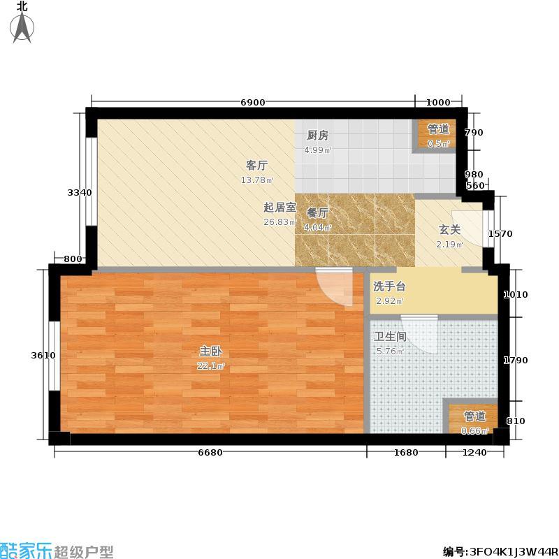 华润紫阳里62.00㎡公寓标准层C1户型1室1厅
