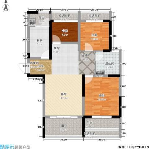 骋望七里楠花园3室1厅1卫1厨93.00㎡户型图
