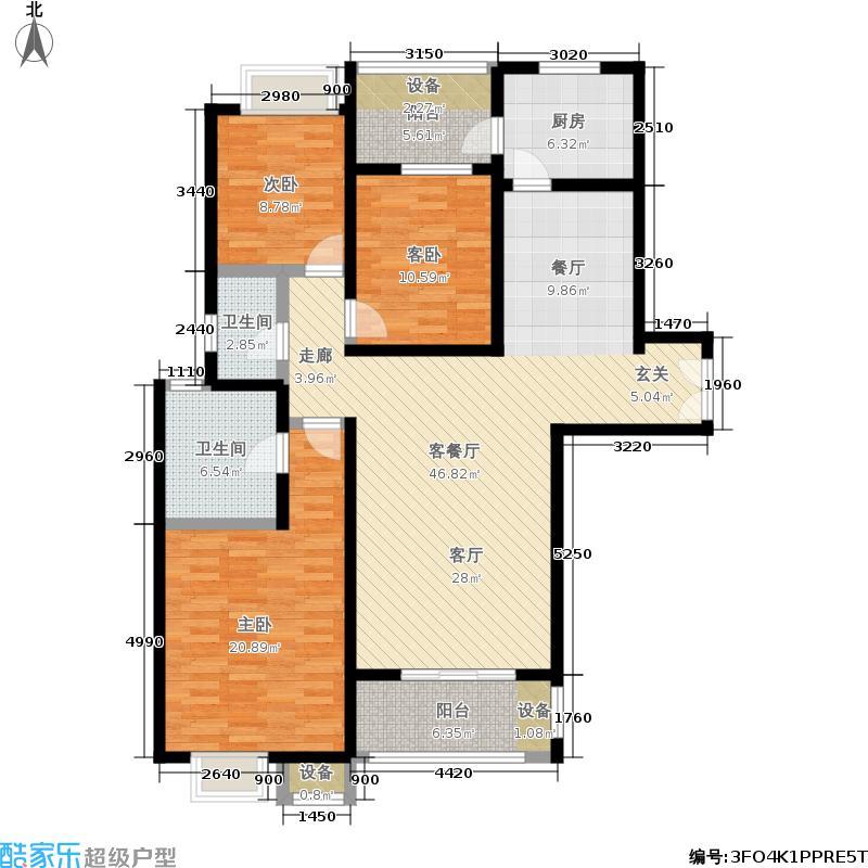 中海万锦城三期135.00㎡三期12#楼E3户型3室2厅
