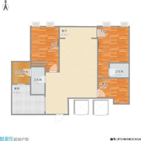 宁宝世家3室1厅2卫1厨115.00㎡户型图