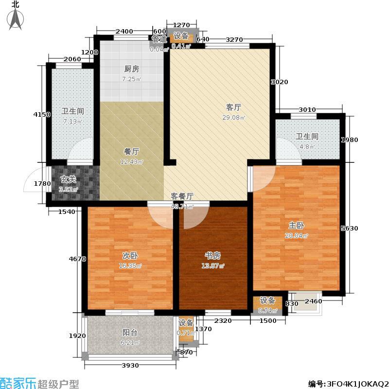 滨江苑135.00㎡高层11#12#标准层户型3室2厅