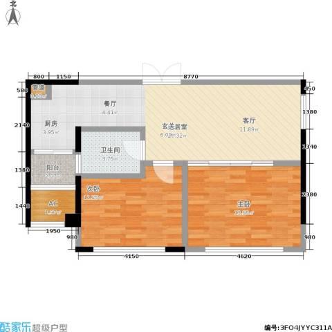协众水岸风华2室0厅1卫0厨68.00㎡户型图