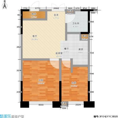 协众水岸风华2室0厅1卫0厨66.00㎡户型图