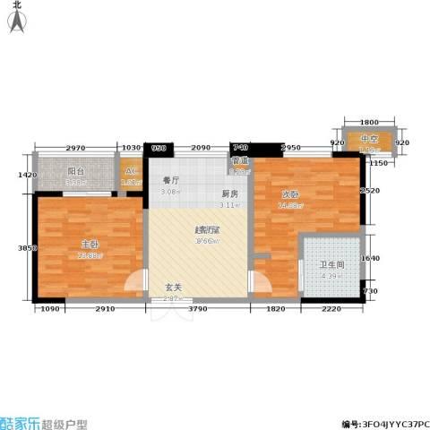 协众水岸风华2室0厅1卫0厨64.00㎡户型图