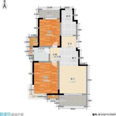 爱涛天岳城2室0厅1卫1厨88.00㎡户型图