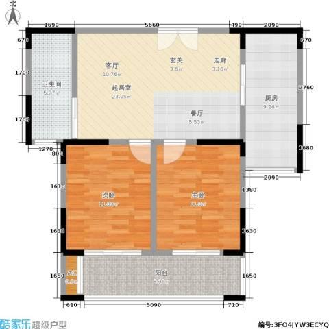 中茵星墅湾2室0厅1卫1厨80.00㎡户型图