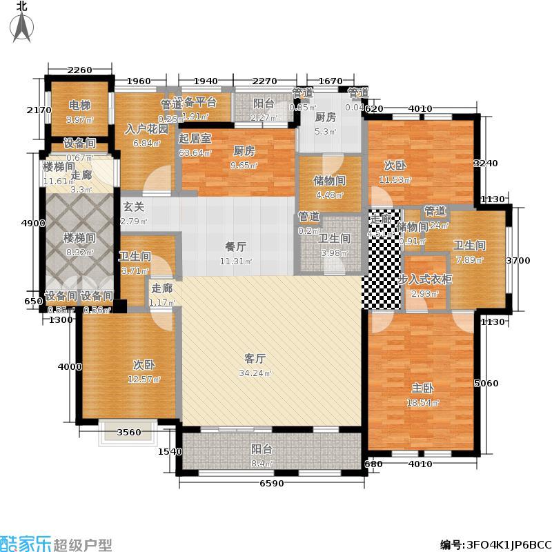 月亮湾3号美颂195.00㎡M户型4室2厅