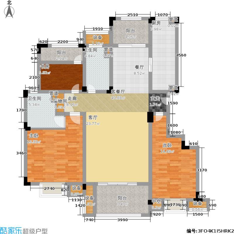 鑫苑湖居世家135.00㎡D1户型3室2厅