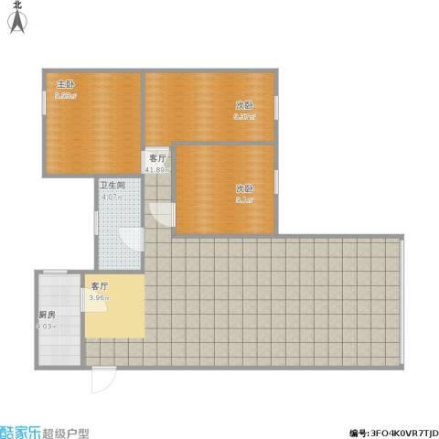 下麦老湾塘(绿洲湾)3室1厅1卫1厨105.00㎡户型图