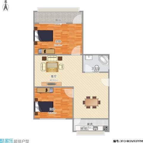 华能路地勘局宿舍2室1厅1卫1厨127.00㎡户型图