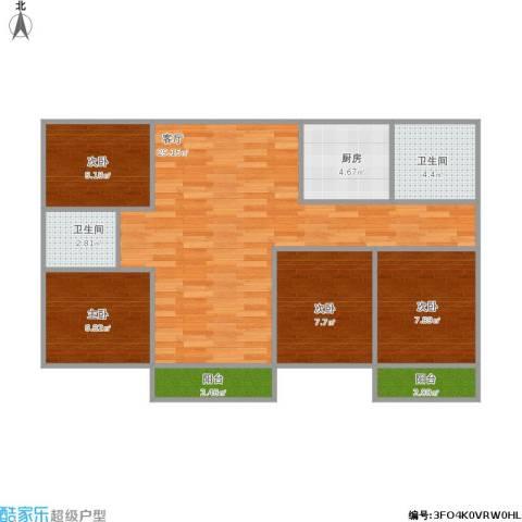 银泉花园4室1厅2卫1厨101.00㎡户型图