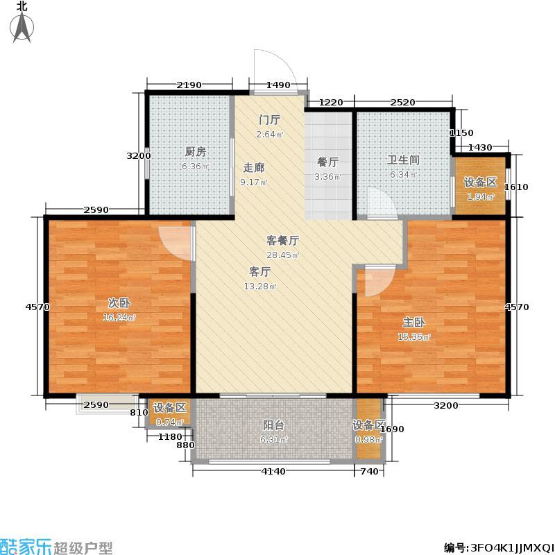 永和璞玉86.61㎡2号楼A户型2室2厅