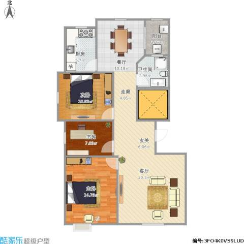 城市之星3室1厅1卫1厨121.00㎡户型图
