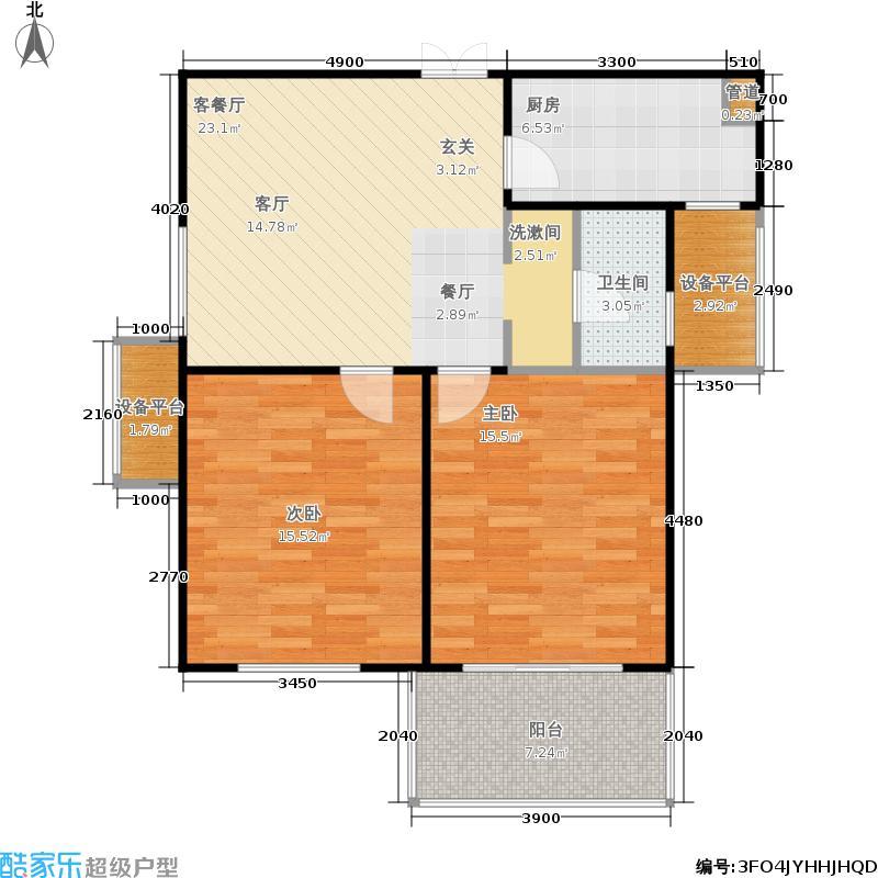 龙湖玖號院82.66㎡龙湖玖�院12#F2户型