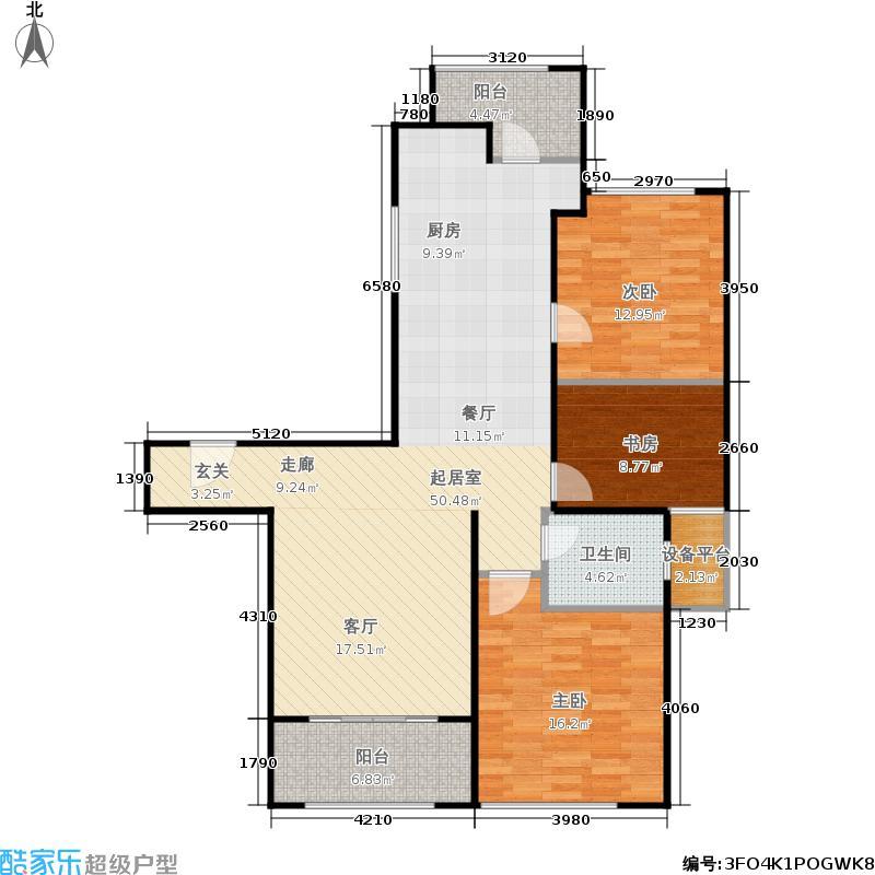 贝尚湾114.00㎡B户型3室1厅