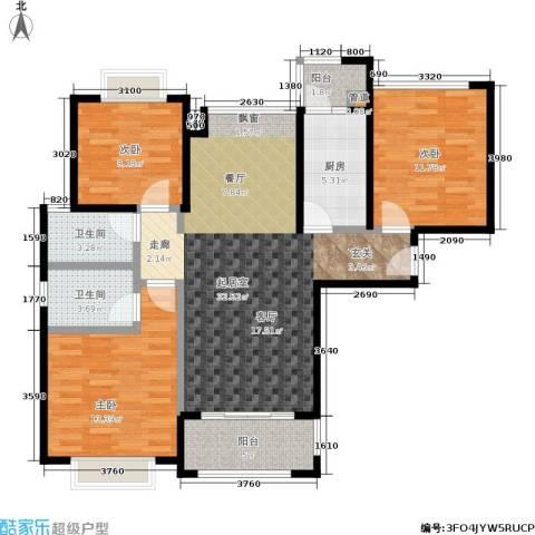 合景领峰3室0厅2卫1厨97.00㎡户型图