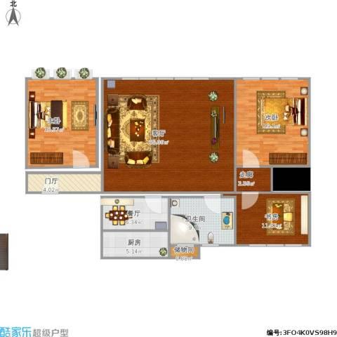 张大里新村3室2厅1卫1厨162.00㎡户型图