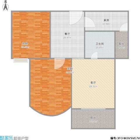 书香景苑二期2室2厅1卫1厨183.00㎡户型图