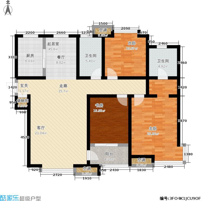 武清五一阳光128.97㎡二期高层标准层C3户型3室2厅