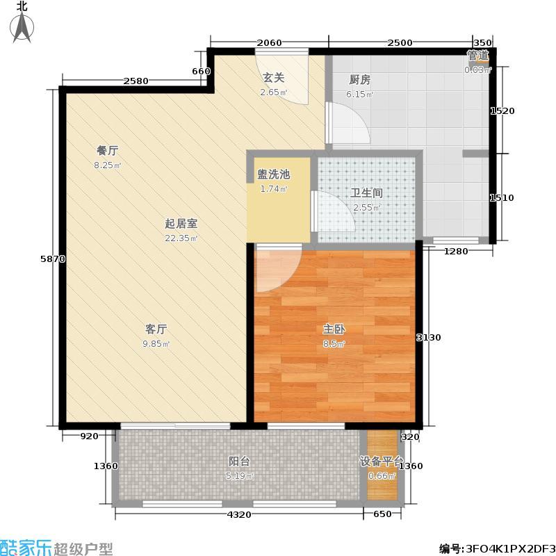 金隅翡丽(金隅翡丽·蓝爵堡)57.00㎡三期A户型1室2厅