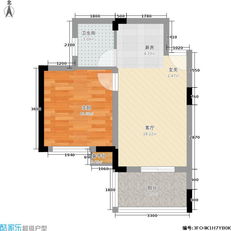 尧龙山天域极地47.21㎡B7区1号楼标准层2号房户型