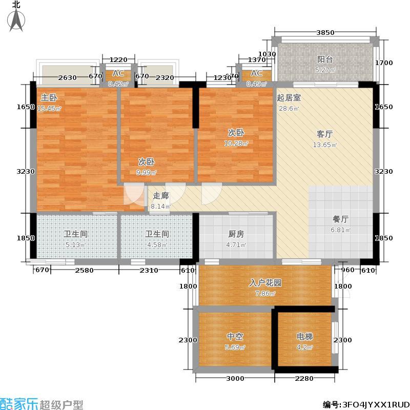 利泰花林湖畔106.51㎡5号楼1/3梯2-9层01户型