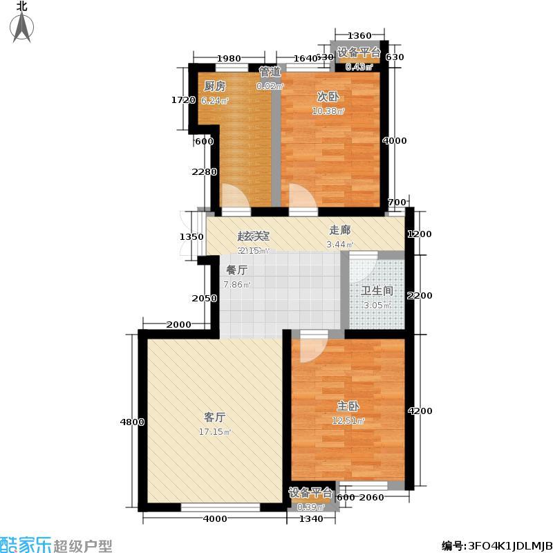 远洋风景90.00㎡11F到顶小高层标准层01户型2室2厅