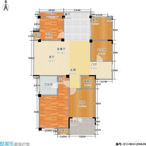 现代家园3室1厅2卫1厨135.00㎡户型图