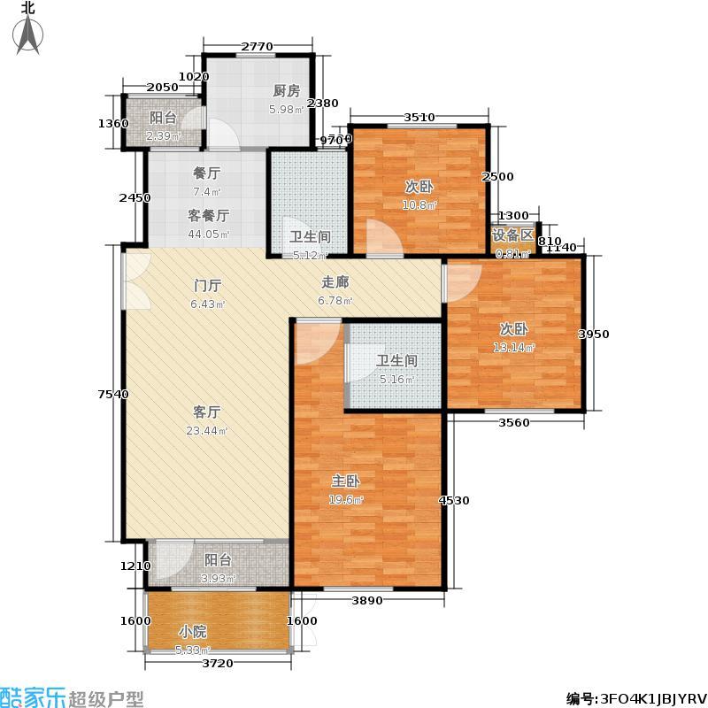 霞飞路63里弄125.00㎡1号楼标准层A户型3室2厅