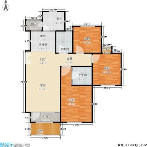 霞飞路63里弄3室1厅2卫1厨125.00㎡户型图