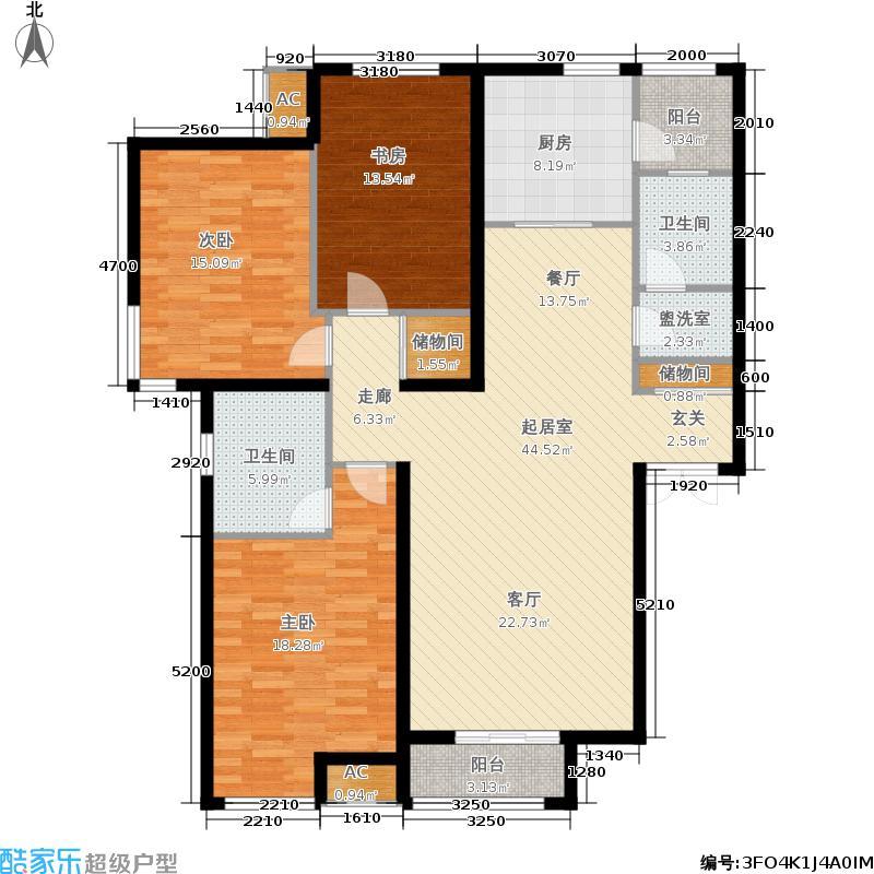 玺岳137.87㎡高层10、11号楼标准层C1户型3室2厅