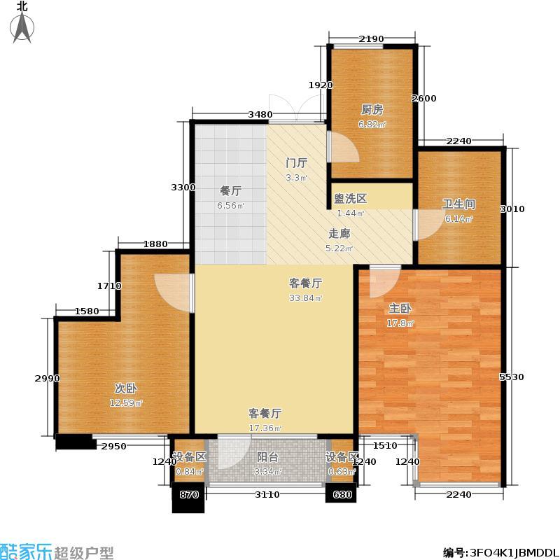 霞飞路63里弄88.80㎡6、7、9#B户型2室2厅