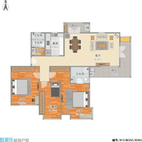 东湖大郡一期3室1厅3卫1厨155.00㎡户型图